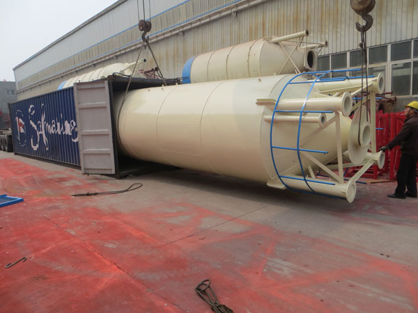 cement silos of AJ50 stationary concrete plant delivery