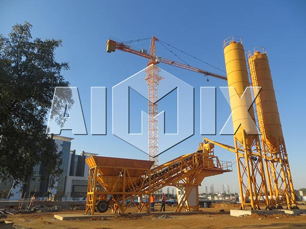 yhzs mobile concrete batching plant-delivery