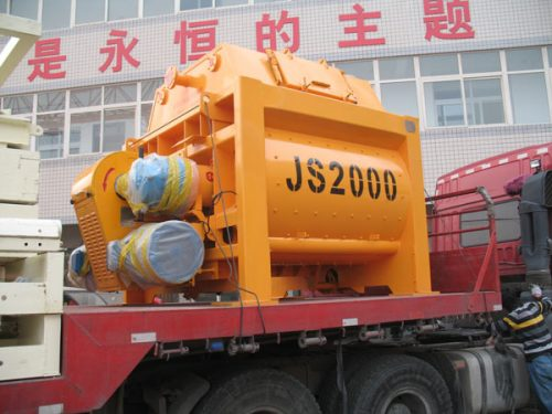 JS2000 twin shaft concrete mixer delivery