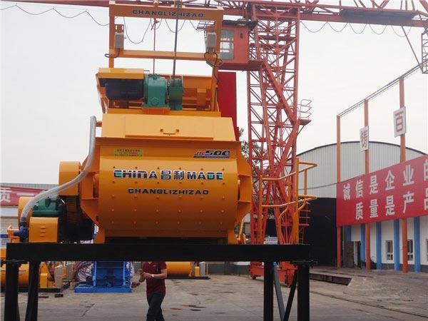 JS500 twin shaft concrete mixer shipment