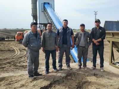 Aimix AJ90 concrete plant set up in Uzbekistan 4